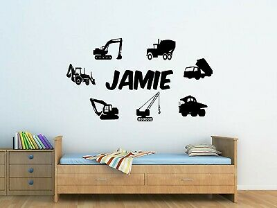 Personalised Kids Trucks And Diggers, Wall Art Sticker Boys/Girls Bedroom