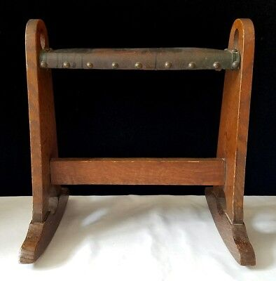 Antique Lakeside Craft Shop Rocking Stool Leather Arts & Crafts Mission Oak