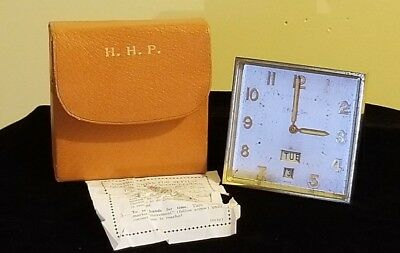 Vintage S. Kirk & Son Guardier Desk Clock W/ Case & Instructions ~ Swiss 8 Day