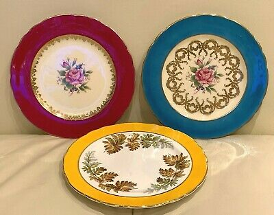 Aynsley China 1022, 1063 & 1286 Set of 3 Dessert or Salad Plates 7 3/8""