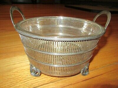 Cl/Antique Manchester Sterling Silver Pierced Basket W/Glass Liner/1890/9 Oz!