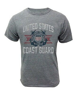 US Coast Guard T-Shirt Grey Vintage PT DHS Vet Semper Paratus Veteran USCG Seal