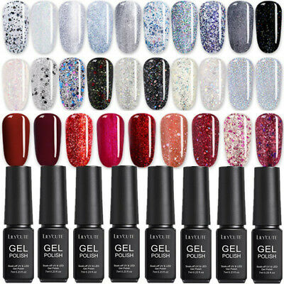 LILYCUTE 7ml Glitter UV Gel Nail Polish Soak Off Sequined Shiny Black Red Gel