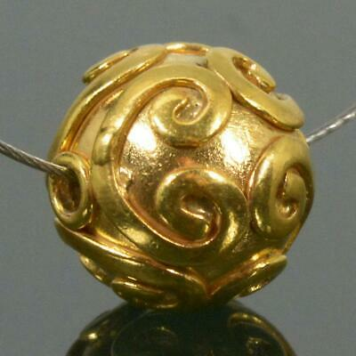 10.15 mm Gold Vermeil Sterling Silver Bali Bead 24K Gold-Plated 2.70 g