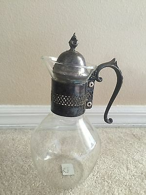 Vintage Silverplate Glass Coffee / Tea Carafe Pitcher