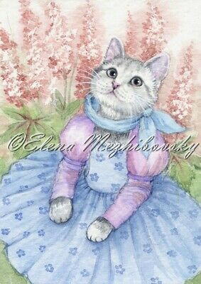 ACEO Original Miniature Watercolor Painting Cat in a Hat by Elena Mezhibovsky