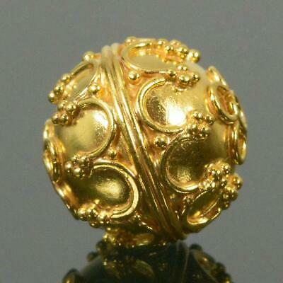 11.65mm Gold Vermeil Sterling Silver Bali Granulation Bead 24K Gold-Plated 2.60g
