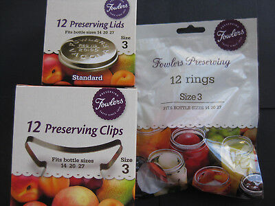 Fowlers Vacola SIZE 3 standard  Preserving LIDS, CLIPS & RINGS SET Brand NEW