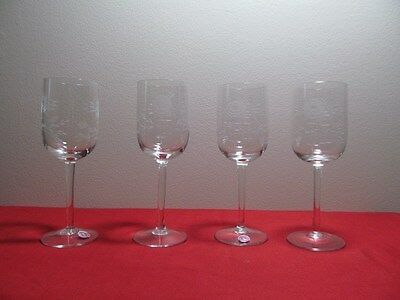 *Vintage Four Etched Rose Stem Glasses Roumania