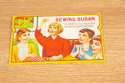 Vintage Sewing Susan Assorted Gold and Silver Eye Needles With Threader
