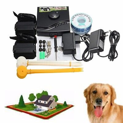 Electric Puppy Pet Dog Fence System 2 Shock Collars Hidden In-Ground Waterproof