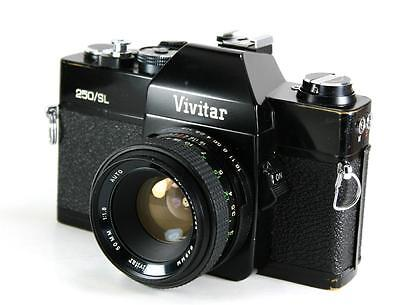 Vivitar 250/SL 35mm SLR Film Camera M42 Mount + 50mm F1.8 Lens