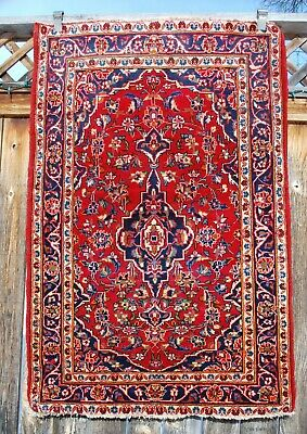 Old Semi Antique Fine Persian Rug 3' 3'' X 5' Red Floral w/ Indigo Blue.
