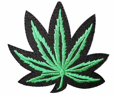 QUALITY Embroidered Iron On Badge Patch - 420 Cannabis Marijuana Weed Pot Leaf