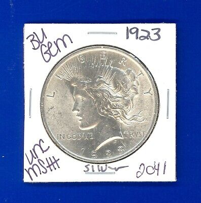 1923 P Bu Gem Peace Silver Dollar Unc Ms+ Genuine U.s. Mint Rare Coin 2041