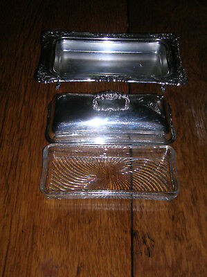 VTG Crescent 79BF Silver Plated Covered Butter Dish w/ Decorative Edge & Insert