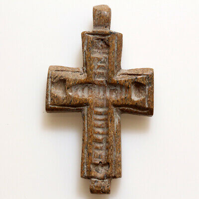 Stunning Post Medieval Hand Made Carved Mammoth B0Ne Decorated Cross Pendant