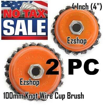 """2 Wire Cup Brush 4"""" (100mm) for 4-1/2"""" (115mm) Angle Grinder Twist Knot Hoteche"""