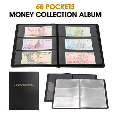 60 Pockets Paper Money Album Collection Banknote Stamps Book Soft Leather Note