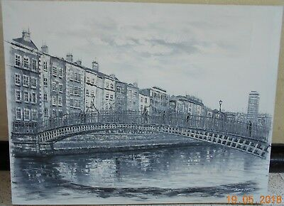 Large Signed Oil on Canvas of a Continental City Scene with a River Bridge