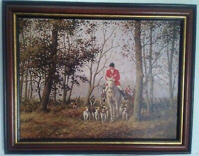 Fine Art Oil on Canvas. Hunting Scene Signed R Moseley