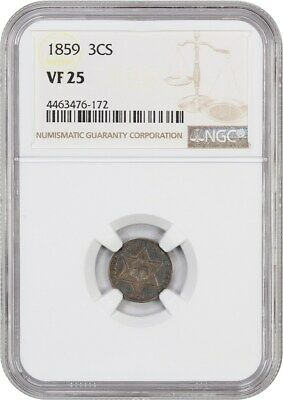1859 3cS NGC VF25 - 3-Cent Silver