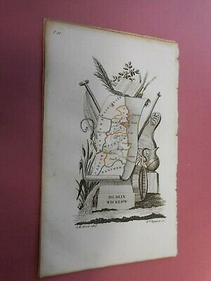 100% Original County Dublin Wicklow Ireland Map By  Perrot C1823 Vgc Scarce