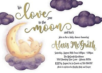 4194268142 Baby Shower invitation Bunny Moon Love you to the moon and back personalized