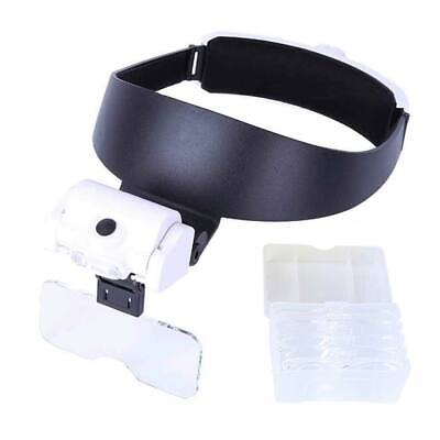 Headband LED Light Magnifier Loop Head Magnifying Eye Glasses Loupe with 5 Lens