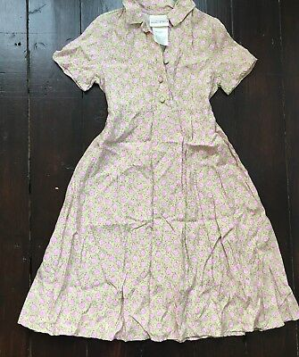 Vintage Laura Ashley Mother & Child Dress Beige Floral Ditsy 5 Years 110cm