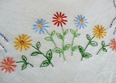 ViNTAGE TABLECLOTH - HAND EMBROIDERED with PRETTY FLOWERS - LINEN