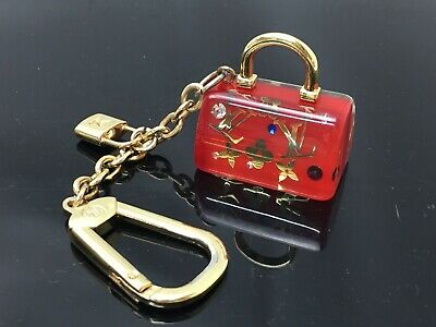 3e14f458530e AUTH LOUIS VUITTON Inclusion Speedy Key Holder Bag Charm Red Clear  9B200100F - EUR 28