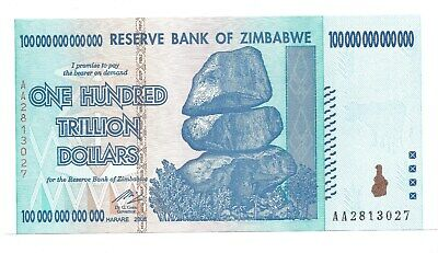 Zimbabwe 100 Trillion Banknote AA prefix authentic UNC with perfect condition