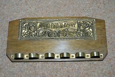 Vintage wood & brass wall hanging pipe rack SMOKE AND BE HAPPY 1920s or 30s