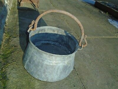 Antique Large Copper Couldron Swinging Handle Novelty Coal  Bucket  Or Planter