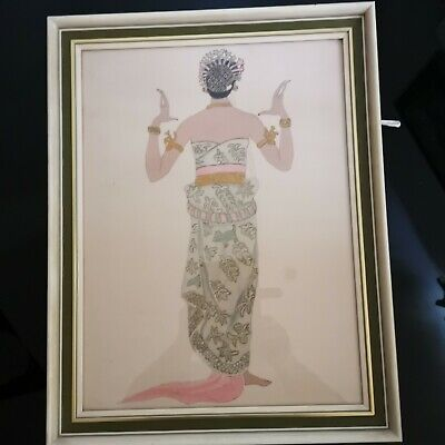 Vintage Hand Painted Beautiful Woman Dancer Picture on Silk Old Siam Thai