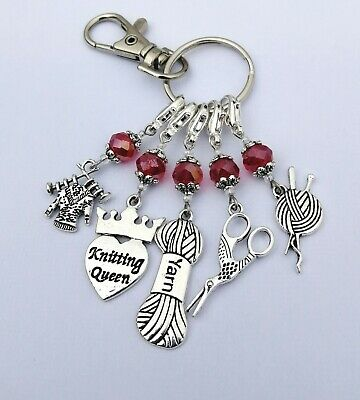 Knitting Stitch Markers Red 5pcs & Keyring in Red Organza Gift Bag