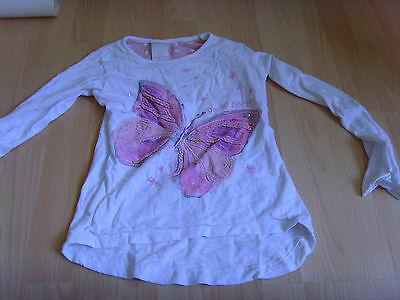 girls top white with pink butterfly ages 6-7 long sleeves
