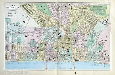 BRIGHTON  - Original Antique Map / Street Plan - BACON , 1907.