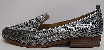 781adb0e063 VINCE CAMUTO SIZE 8.5 M KADE Silver Perforated Leather Loafers New ...