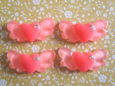 4 x Angel Wings Pink Heart Crystal Flatback Resin Embellishment Crafts Bows UK