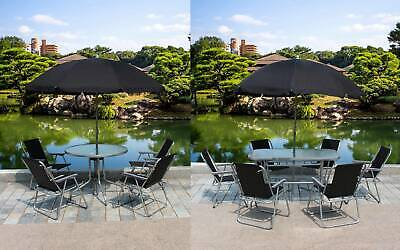 BIRCHTREE Garden Patio Table Set 4/6 Chairs With Parasol Black Outdoor Seating