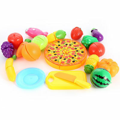 24Pcs Fruits Vegetable Food Toy Child Kids Pretend Role Play Plastic Cutting Set