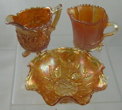 Sowerby carnival glass Thistle & Thorn creamer / jugs x 2 /sugar bowl x 1
