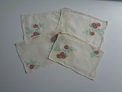 Set of 4 Vintage Linen STRAWBERRY Cocktail Napkins Doilies White Red So Pretty