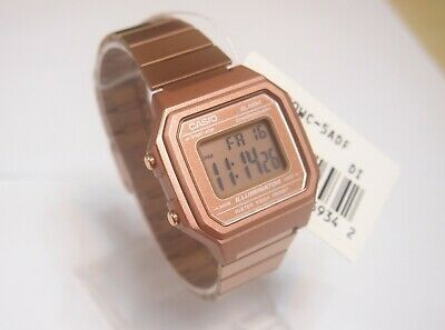 CASIO Rose Gold Digital Stainless Steel Alarm Watch B650WC-5 Original + Gift