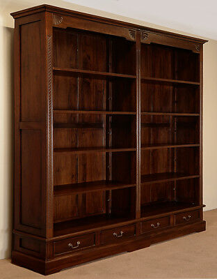 Top quality OPENFRONT LIBRARY double bookcase mahogany solid wood 78270