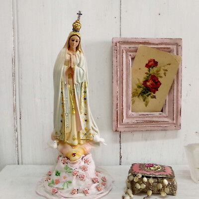 Vintage Fatima Virgin Mary with crown statue Portuguese religious kitsch art