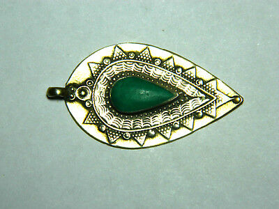 Ottoman Empire silver pendant with blue-green stone, 19th c. 3.0g, 40mm. Toning
