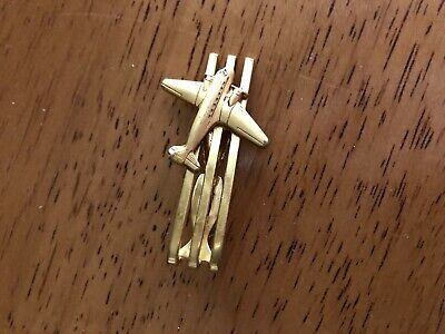 """Vintage Men's """"Hickok Usa"""" Gold-Tone Tie Clip W/Attached Named Airplane On Top"""